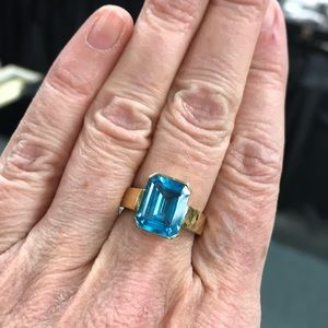 Jewelry - 14k Yellow Gold and Blue Topaz Ring